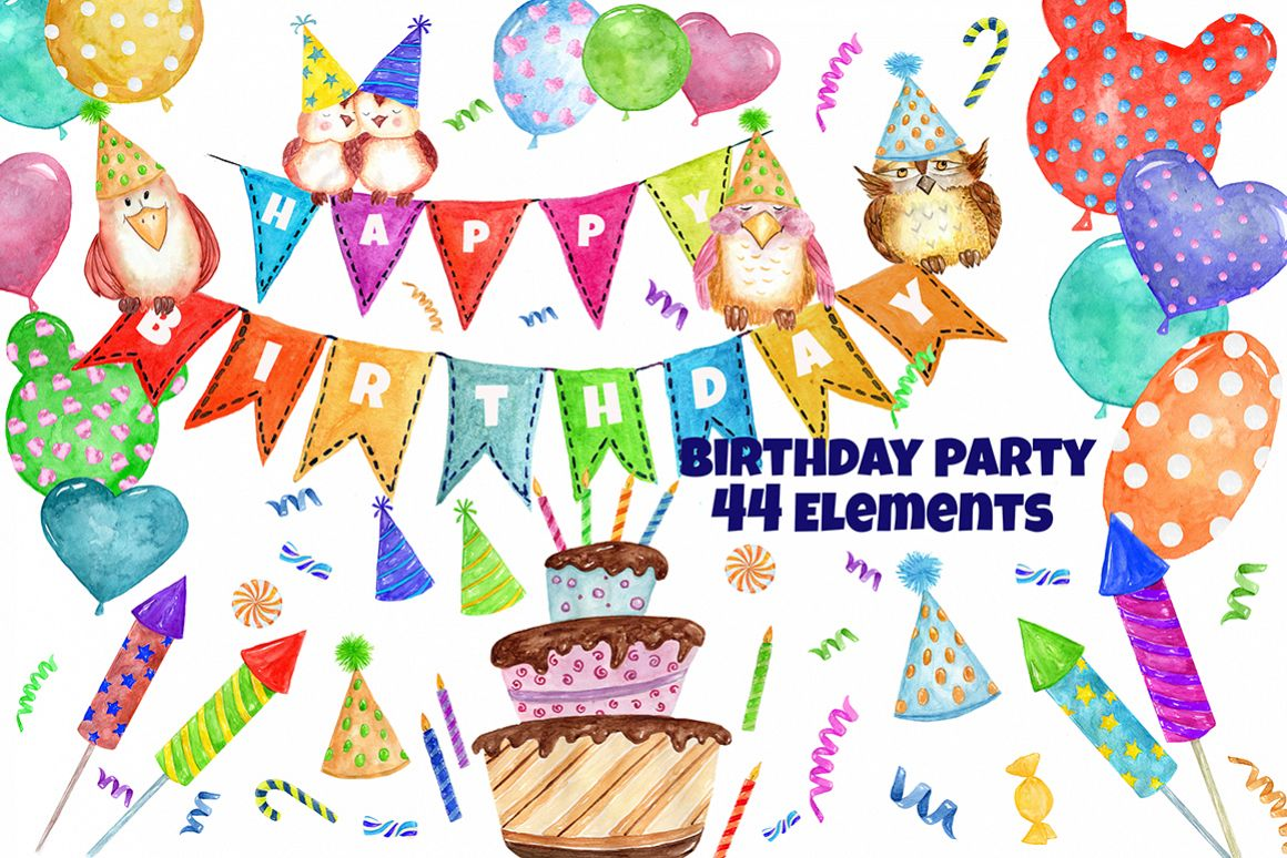 Watercolor Birthday Party Clipart example image 1