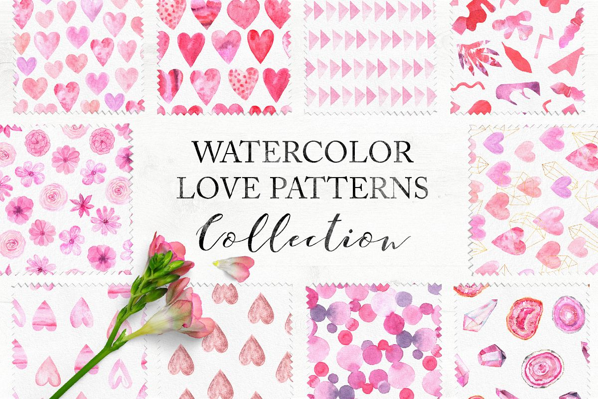 15 Watercolor Love Seamless Patterns example image 1