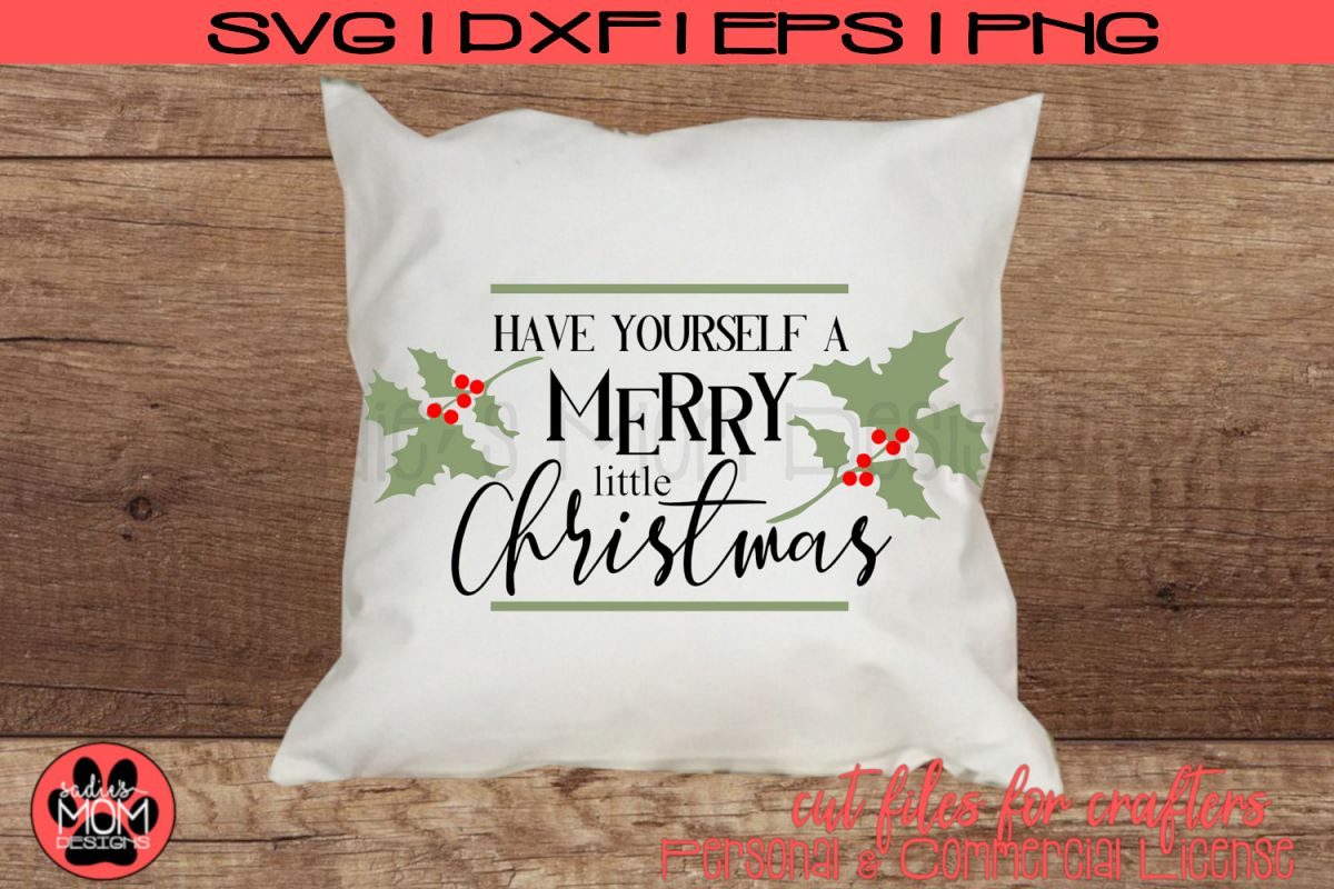 Merry Little Christmas Cut File | Holiday Design | Merry SVG example image 1