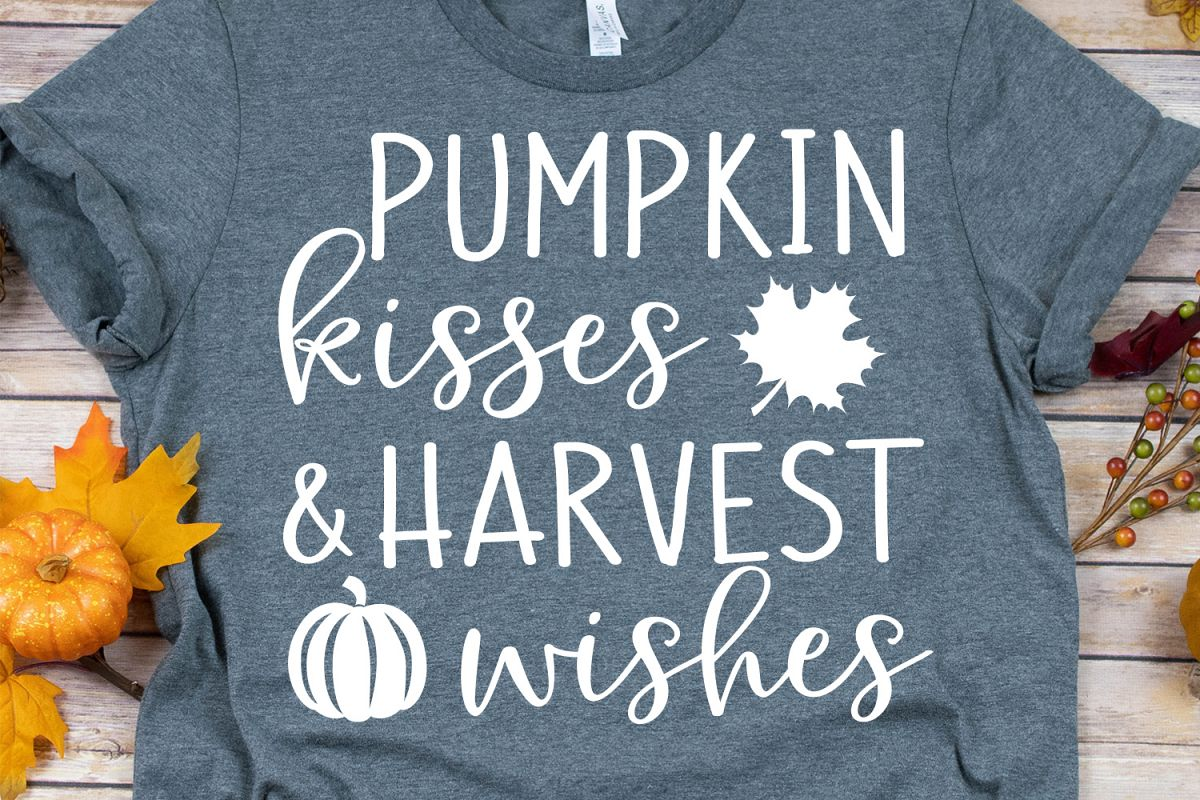 Pumpkin Kisses & Harvest Wishes SVG, DXF, PNG, EPS example image 1