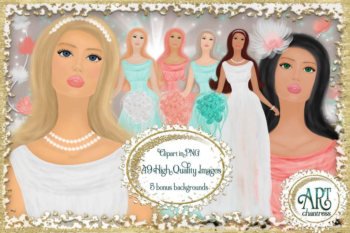 Wedding party, bride clipart in white, coral and teal example image 1