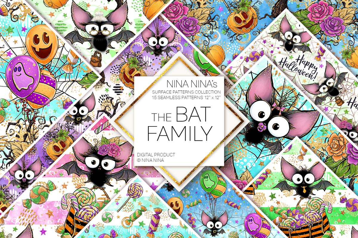 Cute Halloween Seamless Patterns, Bats Digital Papers Pack example image 1