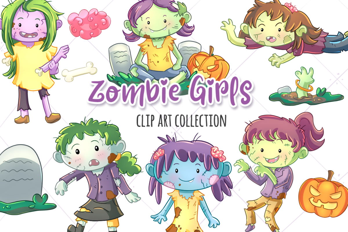 Zombie Girls Clip Art Collection example image 1