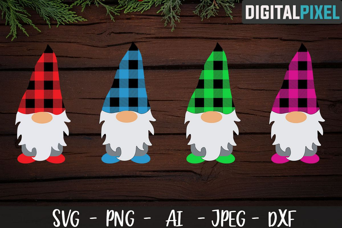 Buffalo Plaid Gnome SVG PNG DXF Circut Cut, Crafters SVG example image 1