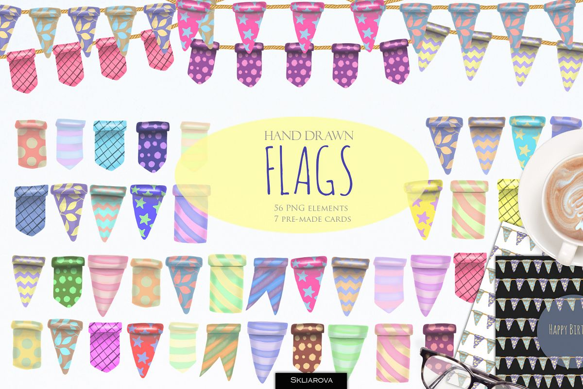 Flags clip art. 54 elements & cards. example image 1