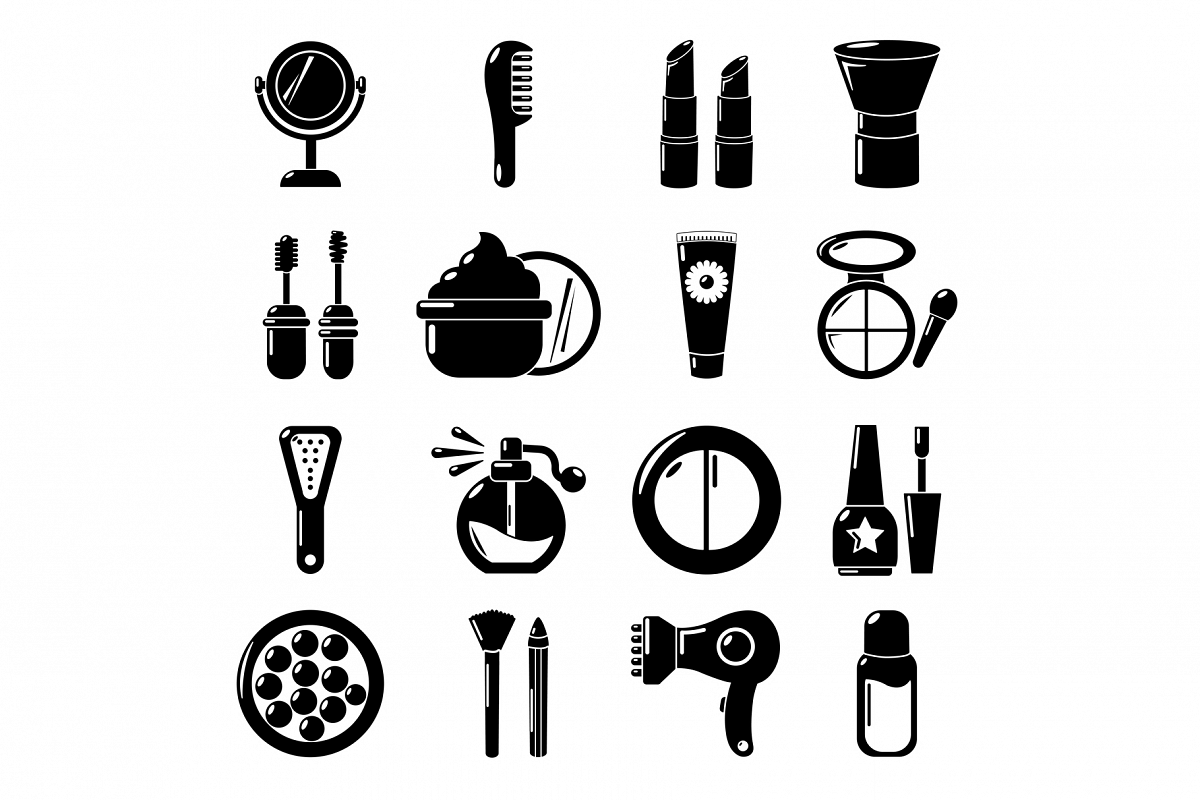 Cosmetics icons set, simple style example image 1