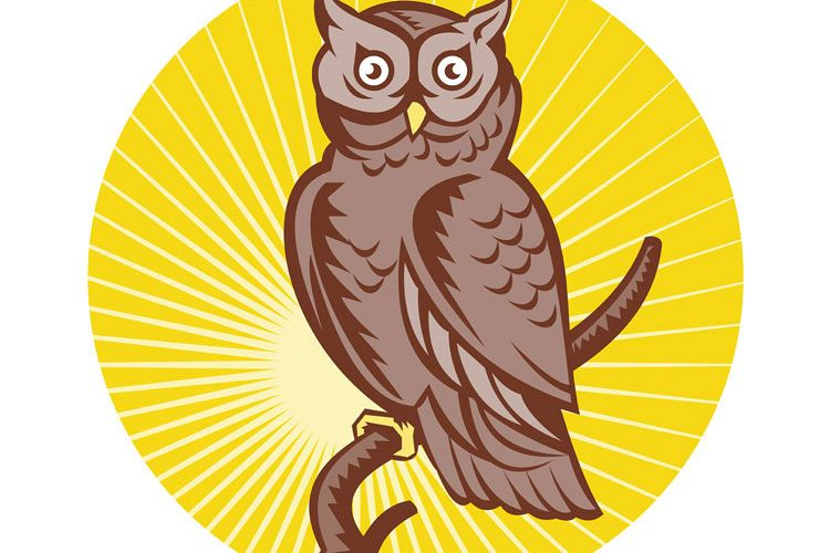 Great Horned Owl perching woodcut example image 1