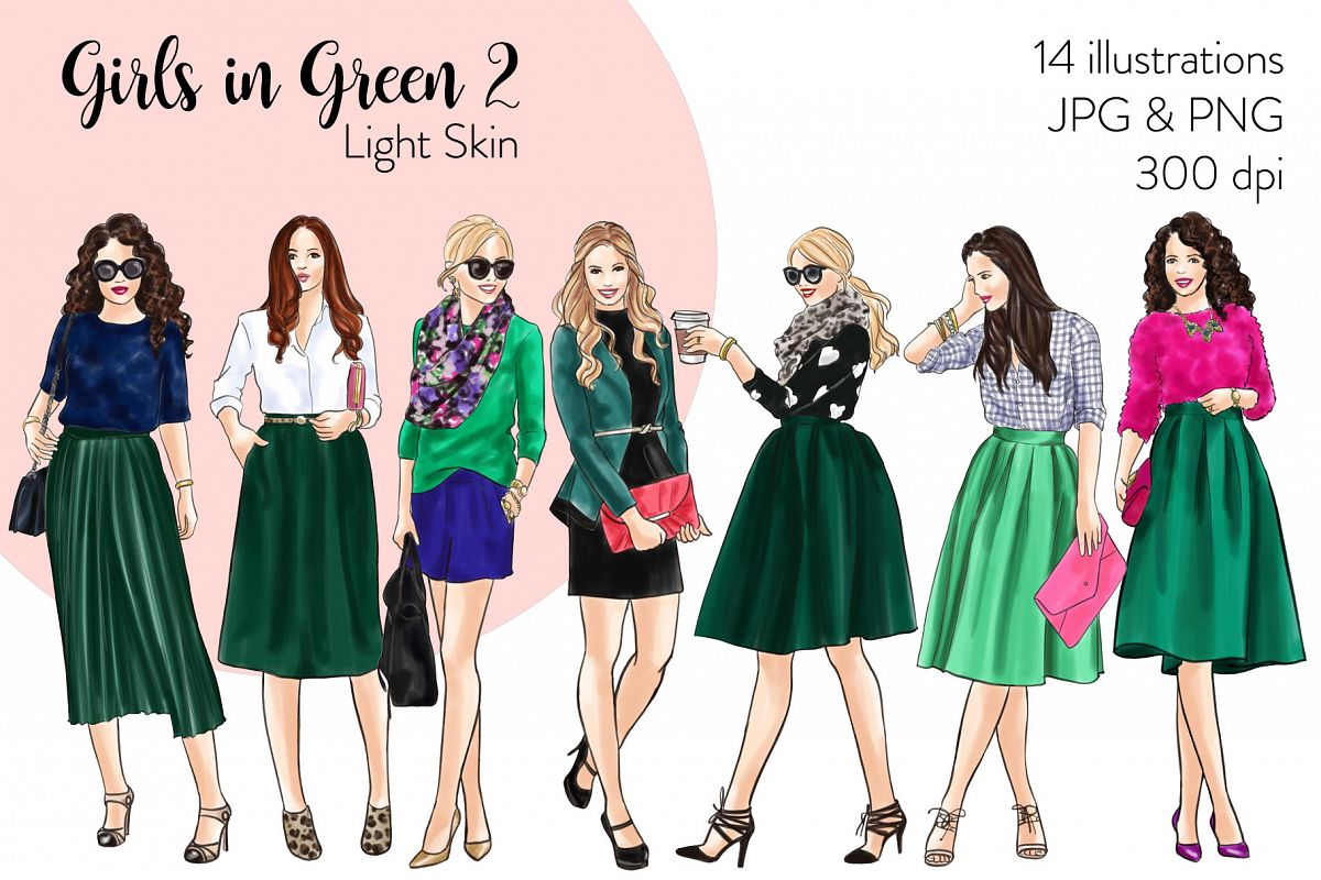 Fashion illustration clipart - Girls in Green 2 - Light Skin example image 1