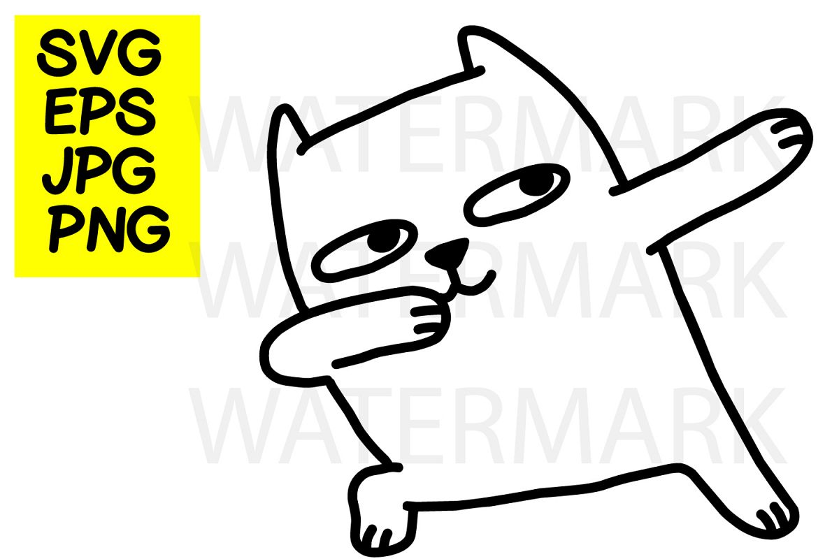 Cat dabbing- SVG-EPS-JPG-PNG example image 1
