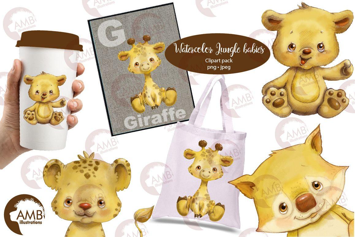 Jungle Babies watercolor clipart AMB-2285 example image 1