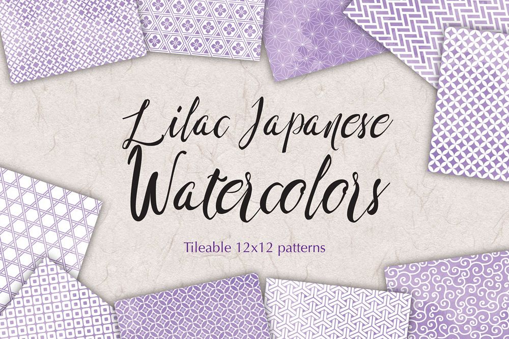 Lilac Digital Paper Japanese Background Patterns example image 1