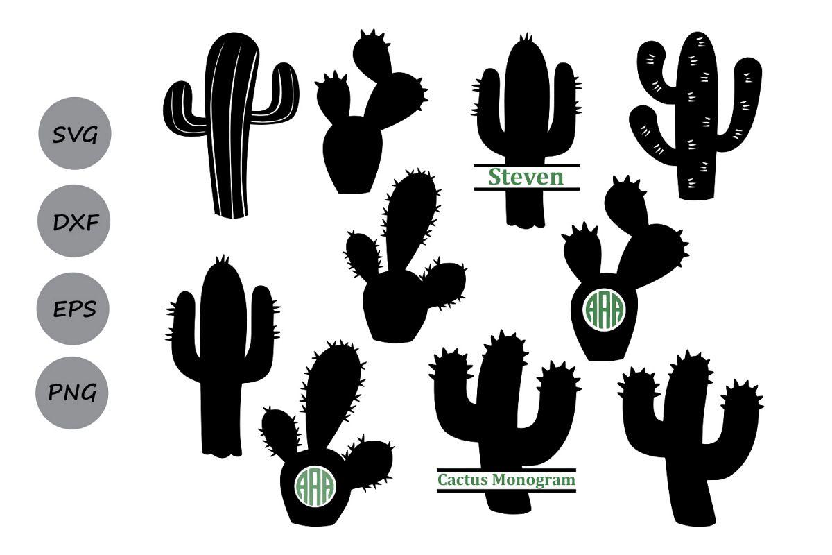 Cactus silhouette. Svg clipart monogram cut