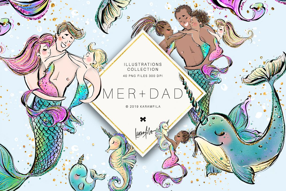 Mermaid Merman Dad Father's Day Clipart example image 1