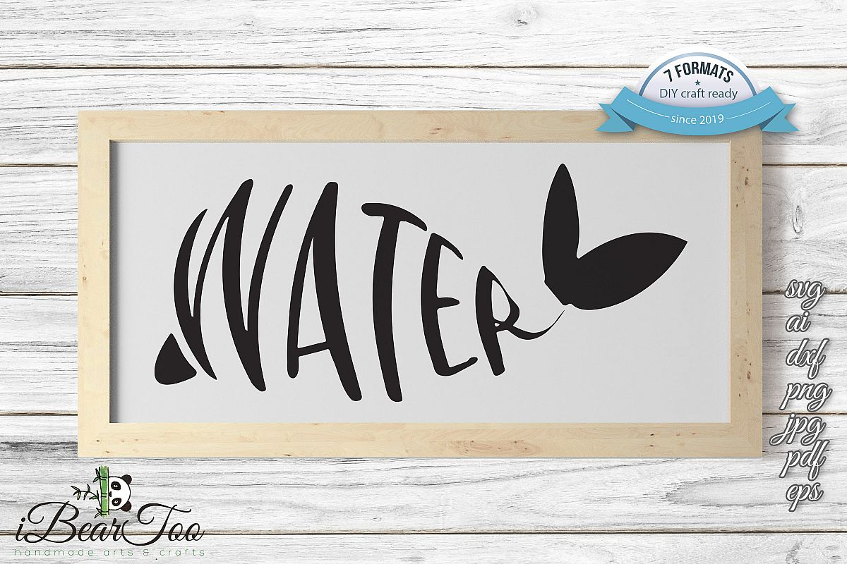 Whale SVG Water Clipart Wordart Vector Drawing Cut File example image 1