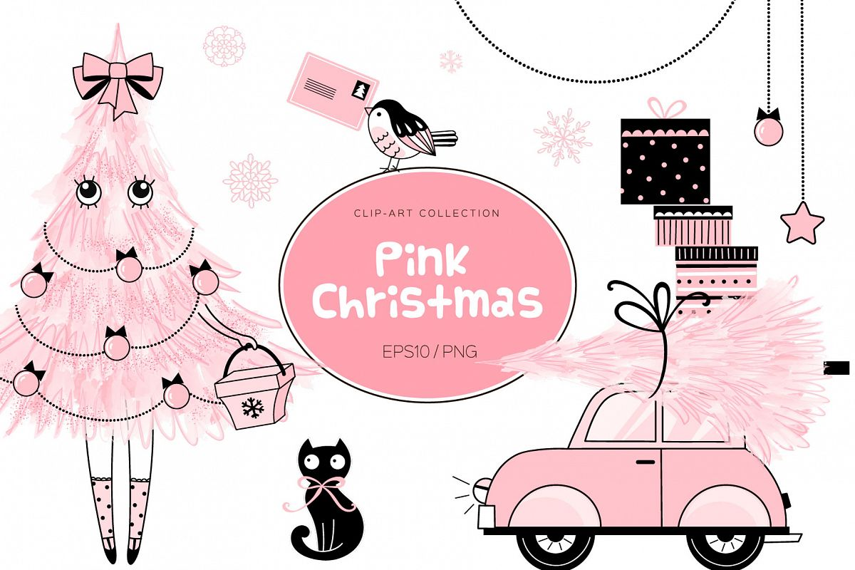 Cute Pink Christmas clip art set example image 1