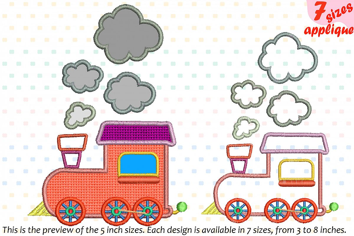 Train Toy Applique Designs for Embroidery Machine Instant Download Commercial Use symbol outline cartoon baby boy Birthday toys 20a example image 1