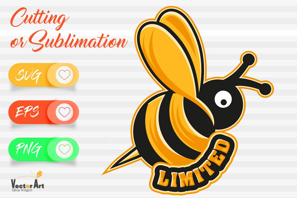 Bee with word Limited - Cutting or Sublimation example image 1