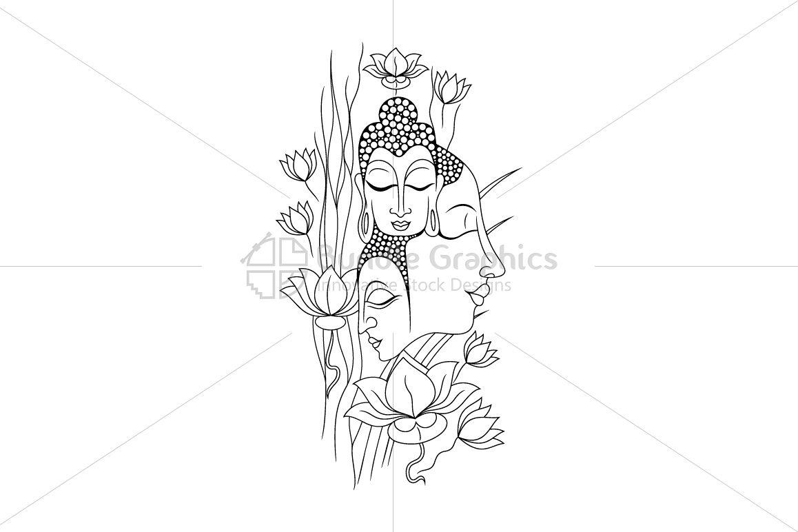 Buddha Meditation - Linear Artwork example image 1