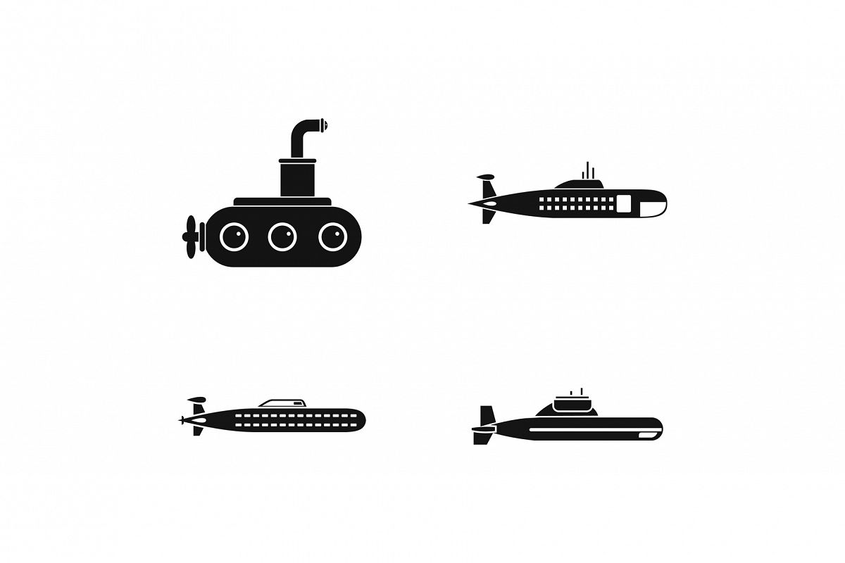 Submarine icon set, simple style example image 1