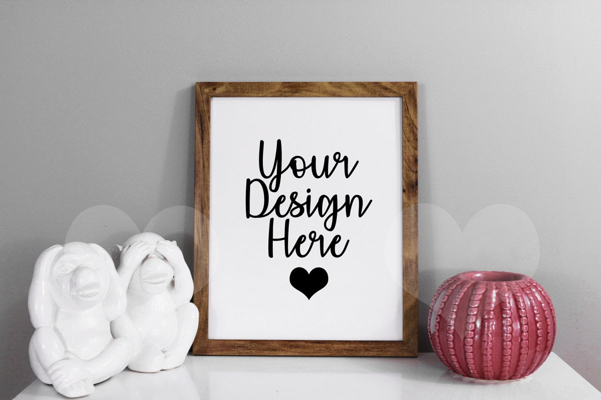 Styled Frame Mockup, Dark Oak Frame Mockup, Stock Photo example image 1