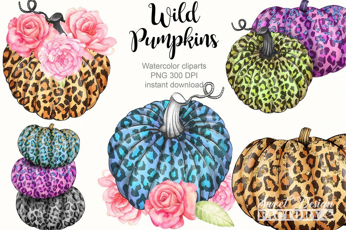 Leopard pumpkins cliparts example image 1