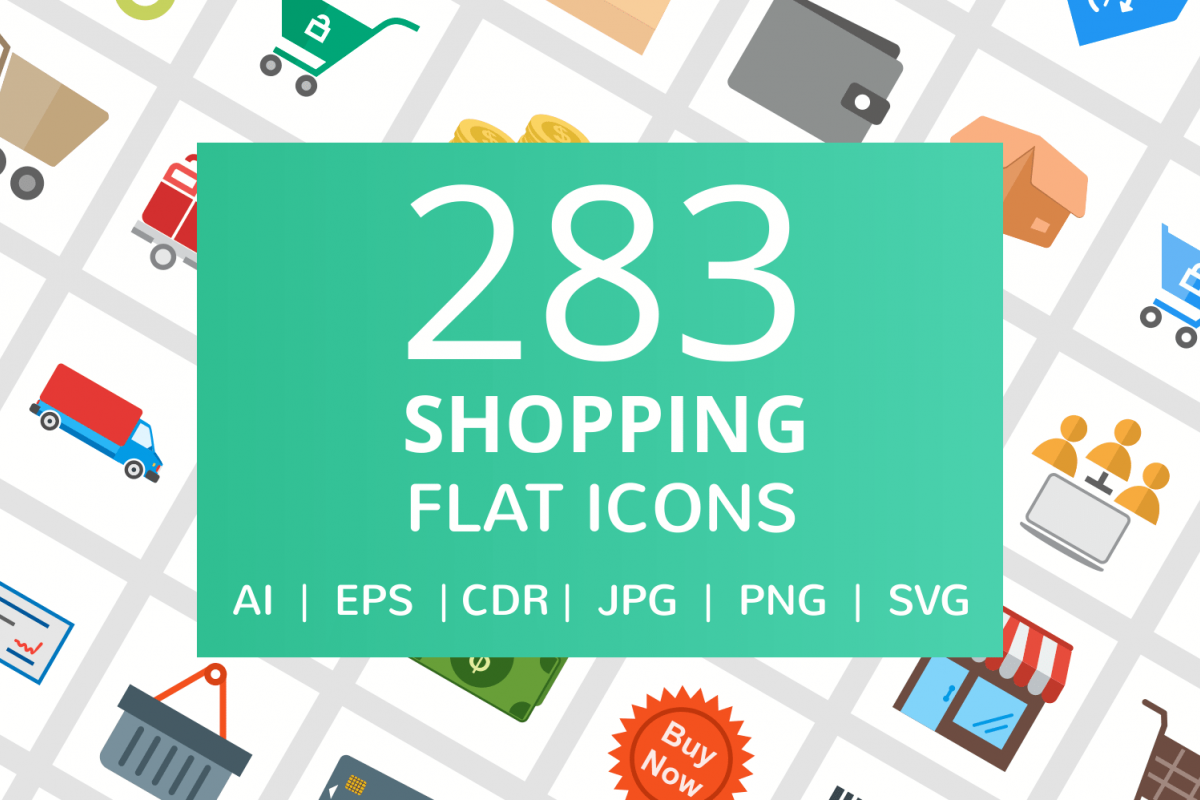 283 Shopping Flat Icons example image 1