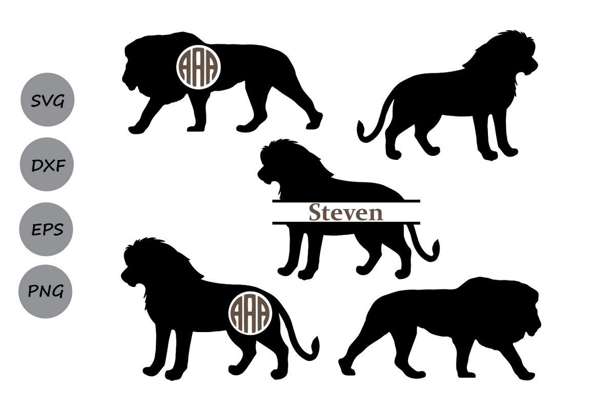 Download lion SVG, lion monogram svg, lion cut file, animal svg ...