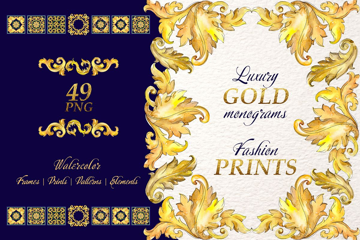 Luxury gold monograms. Fashion prints Watercolor png example image 1
