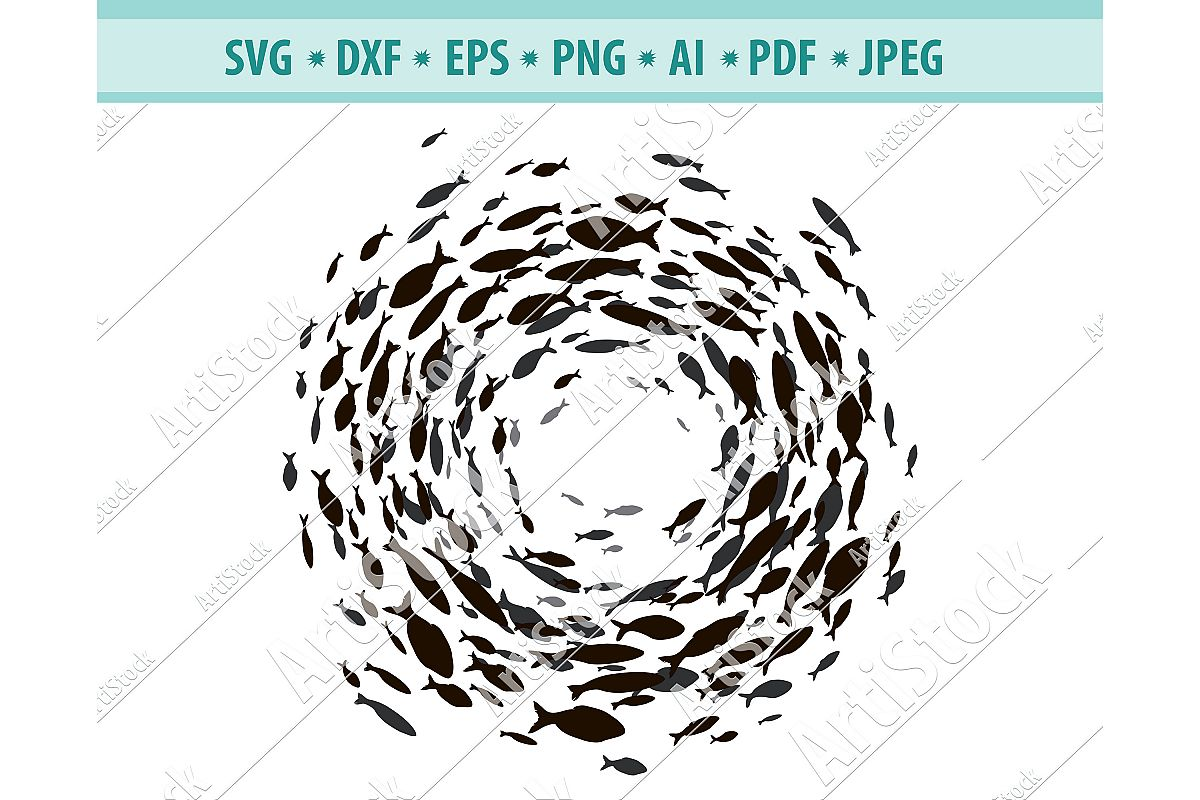 School of fish Svg, Flock of fish Png, Fishes logo, EPS, Dxf example image 1