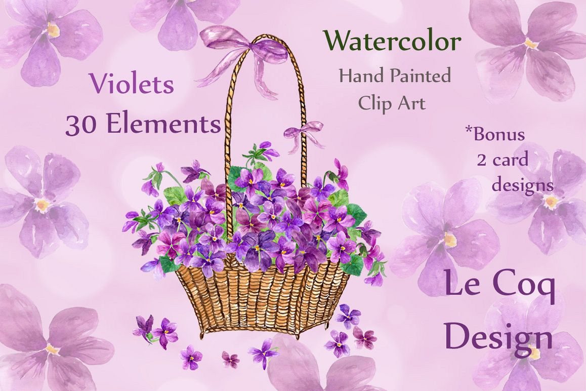 Watercolor violet flowers clipart example image 1