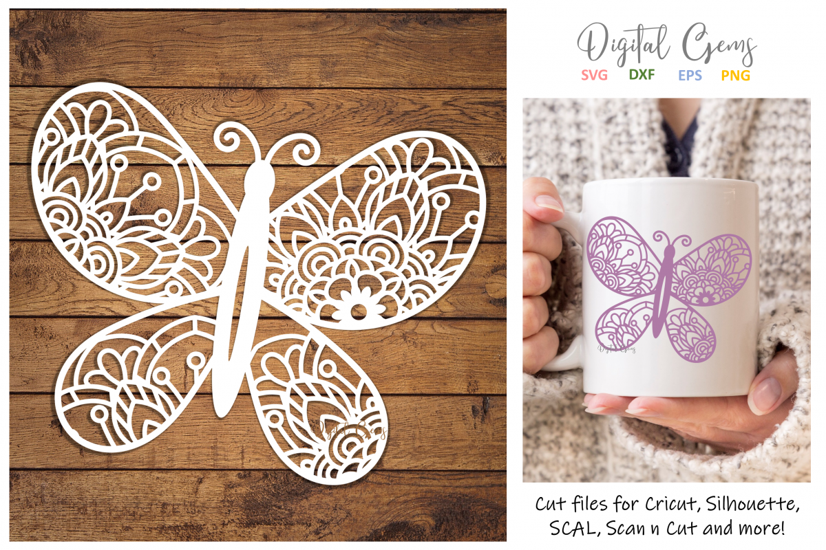 Butterfly paper cut SVG / DXF / EPS / PNG files example image 1