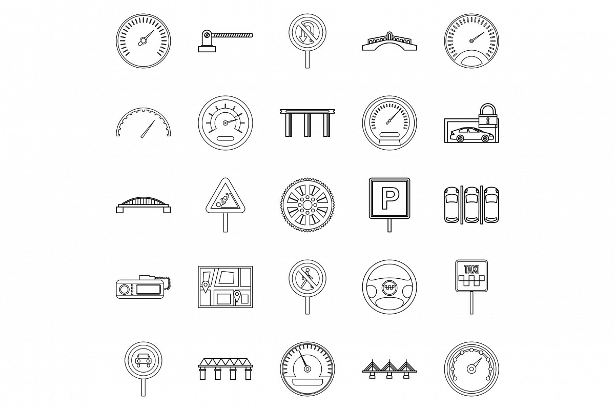 Asphalt icons set, outline style example image 1