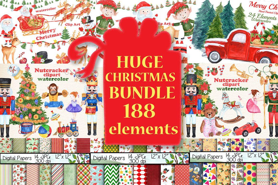 Bundle Watercolor Christmas Kids Clipart example image 1