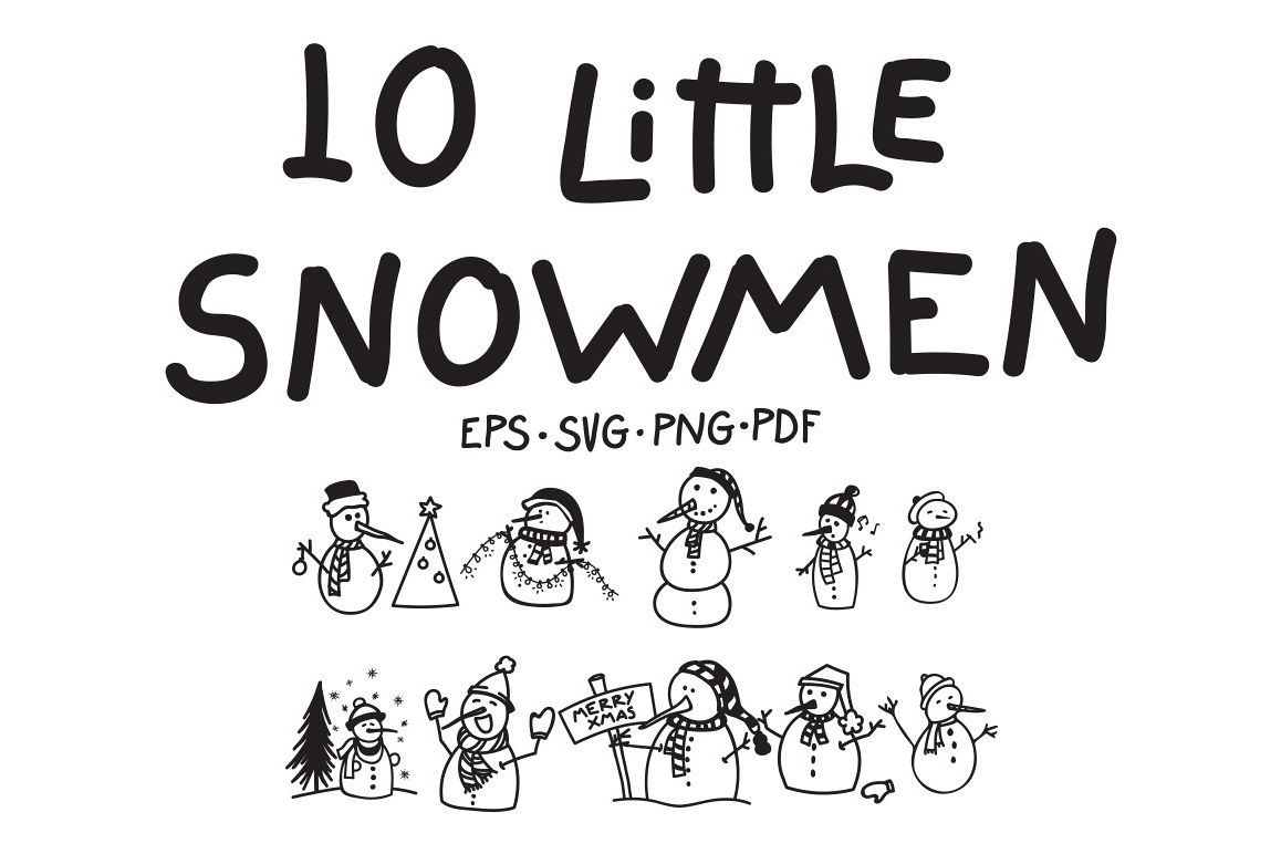 10 Little Snowmen Vectors example image 1