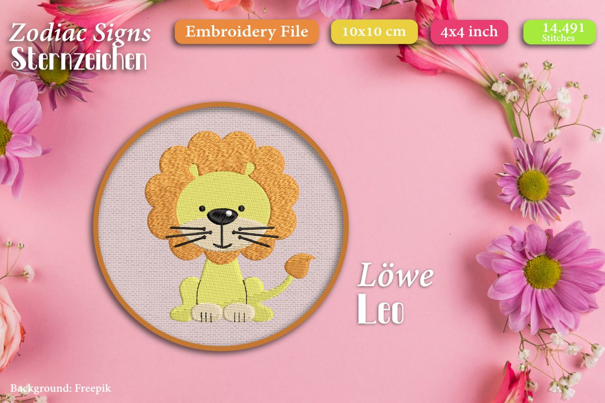 Zodiac sign - Leo - Embroidery Files example image 1
