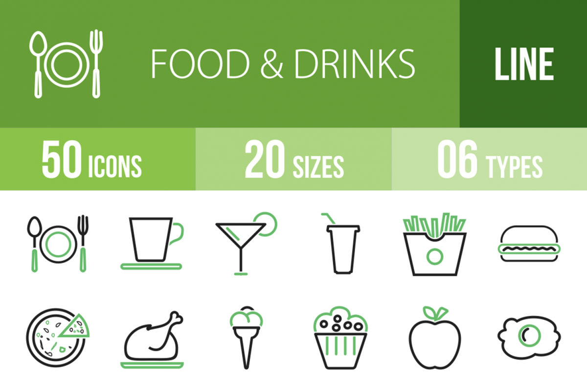 50 Food & Drinks Line Green & Black Icons example image 1