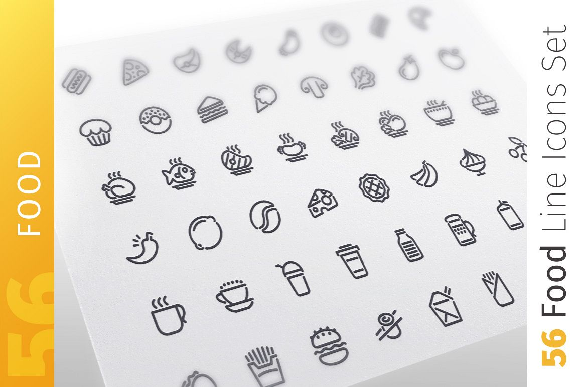 Food Line Icons Set example image 1