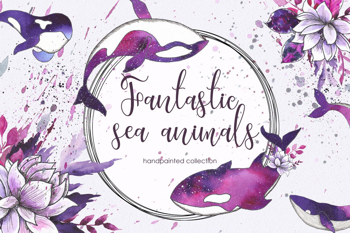 Ocean sea watercolor animals example image 1