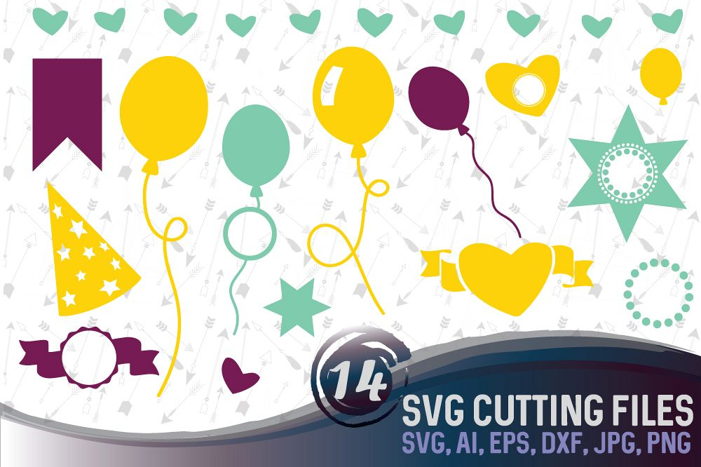 14 party vector designs and monograms   - cutting files SVG, DXF, JPG, PNG, AI, EPS example image 1