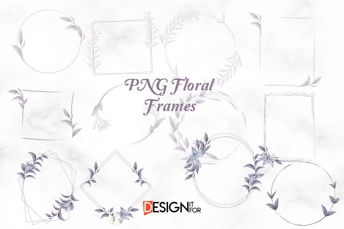 Floral Frame Clipart, Laurel Wreath, clip art, scrapbooking example image 1