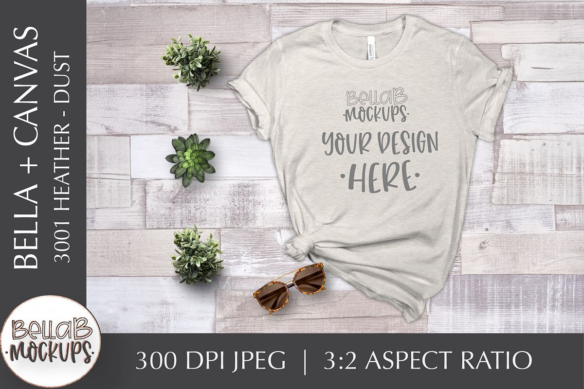 Bella Canvas 3001 Heather Woman's T Shirt Mockup, Dust example image 1