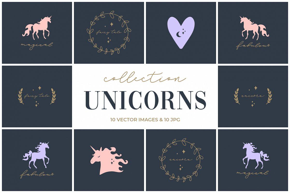 Unicorn silhouette clip art set example image 1