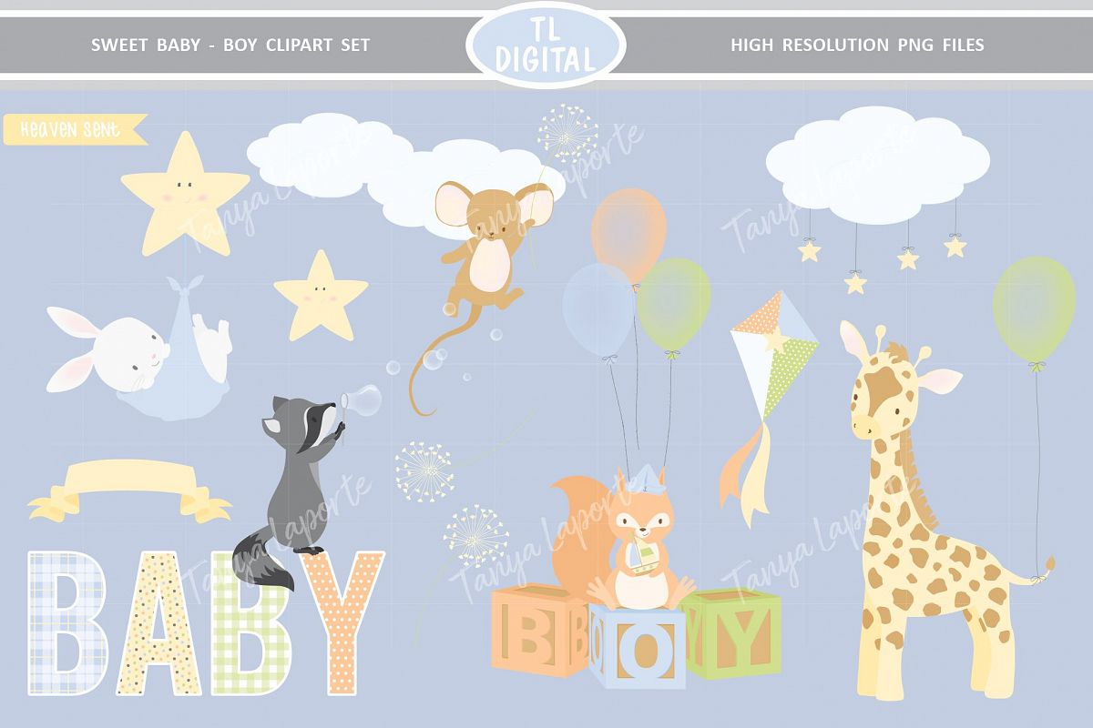 Sweet Baby Boy Clipart Set - 25 Baby themed Graphics example image 1