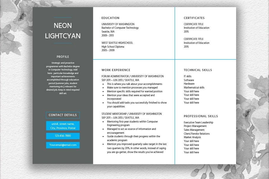 landscape resume template
