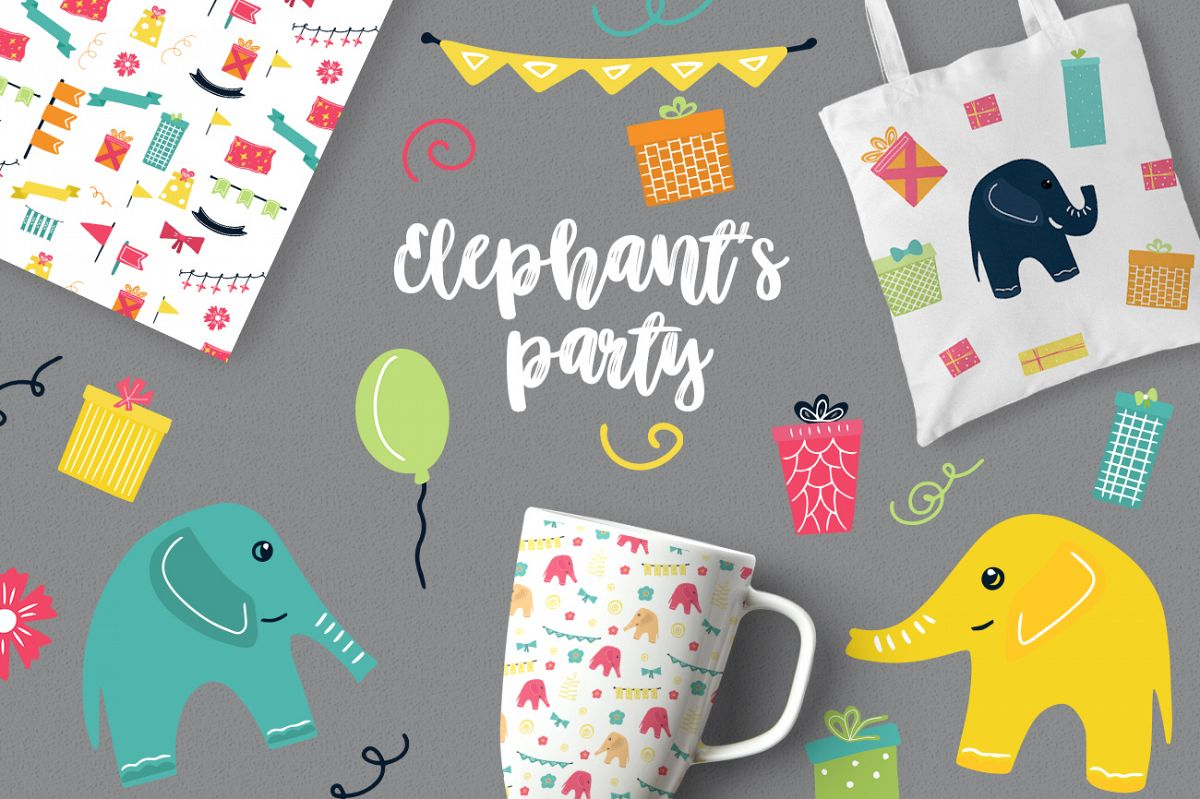Elephant's party vector clipaty Birthday clipart example image 1