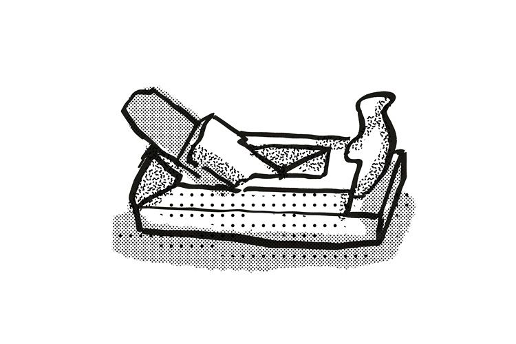 wood smoothing plane Woodworking hand Tool Cartoon Retro Dra example image 1