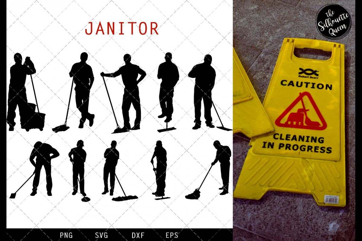 Janitor svg file, cleaner svg cut file, silhouette studio example image 1
