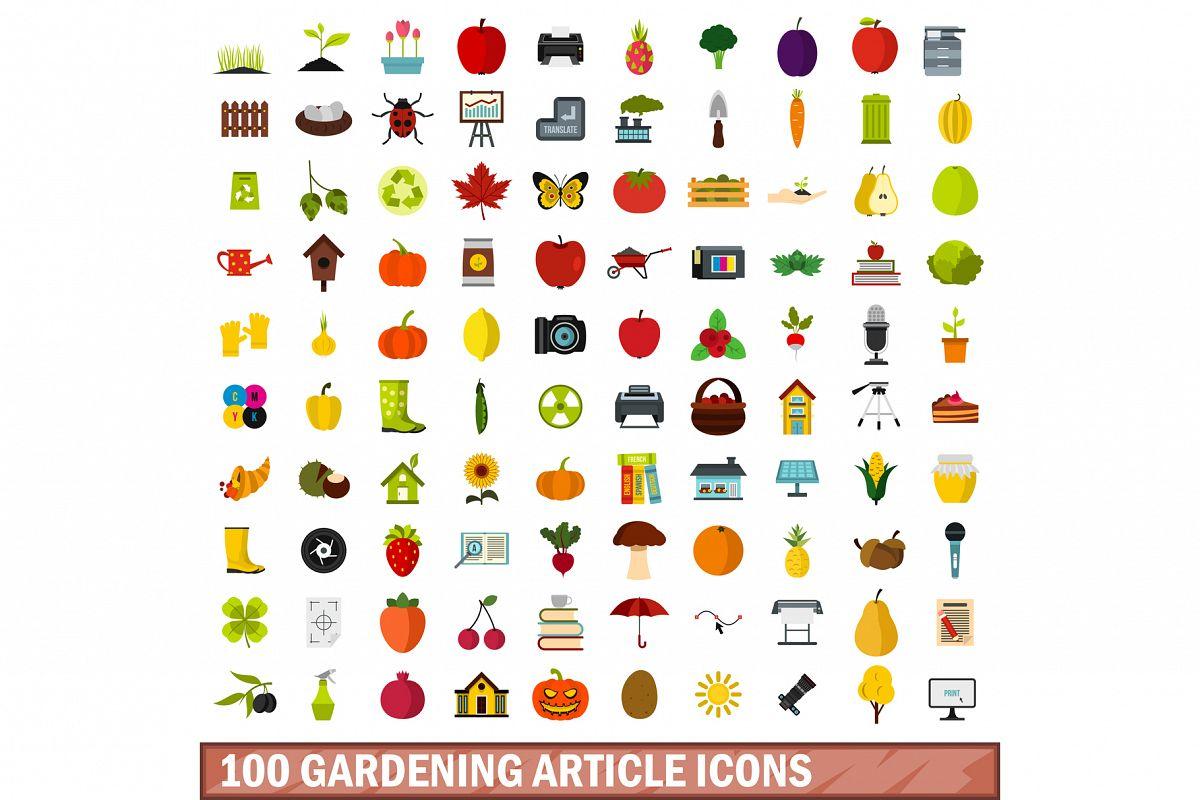 100 gardening article icons set, flat style example image 1