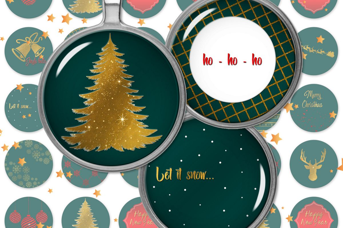 Jingle Bells,Digital Collage Sheet,Pocket Mirror Images example image 1