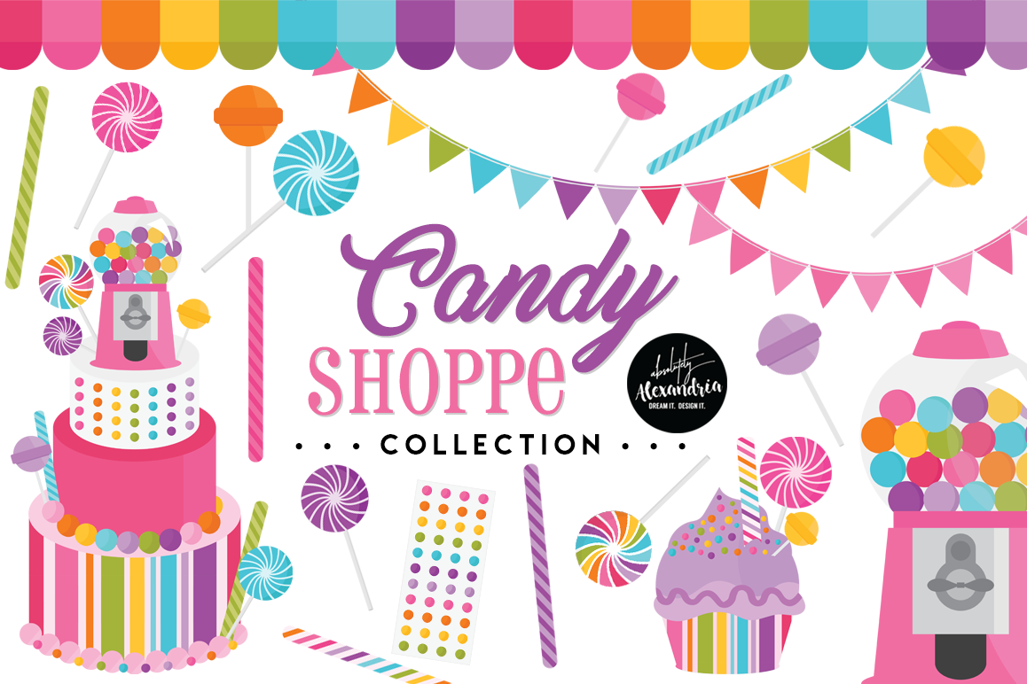 Candy Shoppe Clipart Graphics & Digital Paper Patterns Bundle example image 1